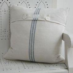 Linen Grain Sack Cushion Cover in Blue