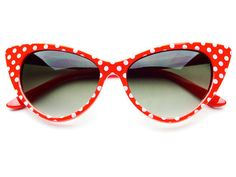 RED AND WHITE RETRO POLKA DOT CAT EYE SUNGLASSES C153