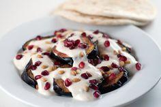 Aubergine Slices with Pomegranate, Yogurt and Tahini