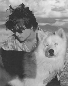 Johnny Depp  and a blue-eyed dog