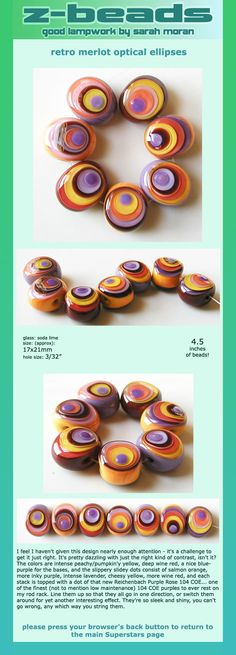 Glass beads, multi layers, opaque, slightly off center, lampworking