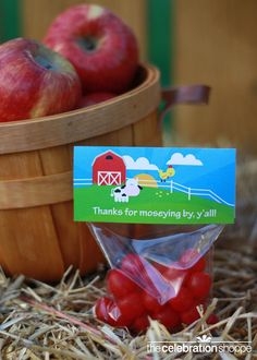 """""""Thanks for moseying by, y'all!"""" cello toppers ~ perfect for farm party favors!"""