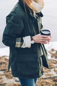 barbour jacket and cozy sweater