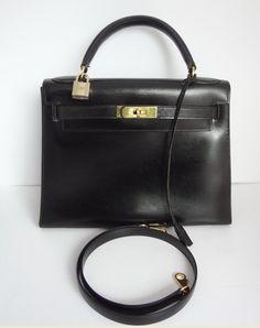Hermes Vintage Black Box Calf Leather 28cm Kelly Bag $3,990.00