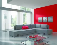 grey and red | Contemporary Grey Fabric Corner L Shape Modern Sofa Bed And Chic Red ...