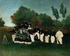 Les artilleurs - Henri Rousseau, 1893–95. Oil on canvas, 31 1/8 x 39 inches (79.1 x 98.9 cm) - Guggenheim