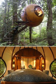 Free Spirit Spheres http://www.werd.com/27955  Designed & built by Canadian craftsman Tom Chudleigh, Free Spirit Spheres are ewok-style treehouses made to hang suspended in the forest canopy—putting its inhabitants up in the trees, making for a unique wilderness experience that minimizes human impact on the environment. The Spheres are made of wood and coated in fiberglass for a waterproof exterior. Inside there's a kitchen, bed, and all the comforts of home.