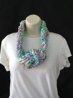 Handmade loom knitted bright colored turquoise adjustable infinity scarf by knittedbydesign on Etsy