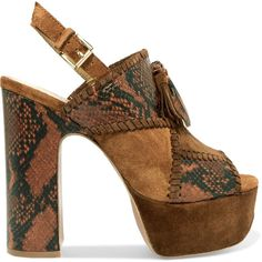 ASH Bohemian whipstitched snake-effect leather and suede platform... (£120) ❤ liked on Polyvore featuring shoes, sandals, brown, brown platform sandals, strap sandals, brown leather sandals, leather sandals and block heel sandals