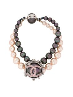 Vintage Chanel Pink and Peacock Black Pearl Double Strand CC Bracelet
