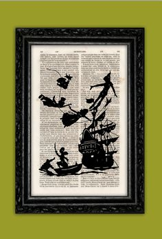 Flying Peter Pan and Kids Silhouette Art Print - Disney Hook Book Art Poster Dorm Room Print Gift Wall Decor Poster Dictionary Print