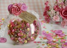 Rose and gold DIY Christmas Ornament by May Flaum using 28 Lilac Lane