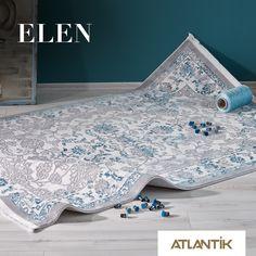 Baharın mavi tonlarıyla buluşan şık desenler Elen'le gün boyunca yanınızda. #AtlantikEtkisi www.atlantikhali.com