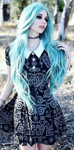 Blue hair...her dress though <3
