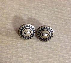 Sunburst Metal Button Stud Earrings by AuntieBeths on Etsy, $6.25
