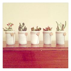 Single White Mason Jars with Succulents by StellaDesignsShop