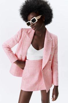 TEXTURED PLAID BLAZER | ZARA United States Zara United States, Plaid Blazer, Ideias Fashion, Blazers, Jackets, Women, Down Jackets, Blazer, Jacket