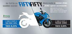 Suzuki lancia la nuova promozione Fifty Fifty, metà dell'acquisto lo puoi ora rimborsare a Tasso Zero.