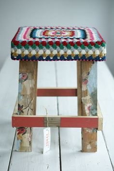 Adorable crochet-covered stool by Wood & Wool Stool.