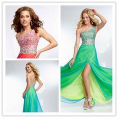 2014 A-line One-shoulder Sleeveless Floor Length Satin Green Red Beaded Backless Slit Long Evening Prom Dresses Prom Gown(http://www.globebuy.com/i/106683.jhtml)