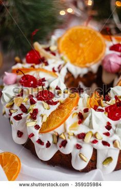 Traditional Christmas cake with holiday background. Decorated bundt cake. Shallow focus