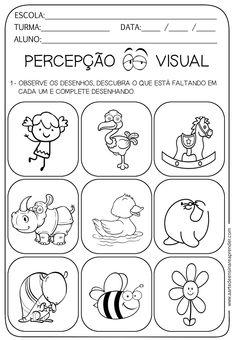 Atividade pronta - Percepção visual Autism Activities, Preschool Education, Preschool Crafts, Pet 5, Kindergarten Math Worksheets, Classroom Behavior, School Projects, Educational Toys, Professor