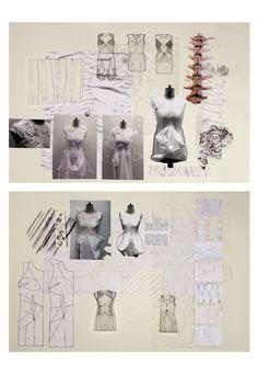 Fashion Sketchbook exploring skeletal structures -  fashion sketches, mark making, fabric manipulation, cut-out pattern samples, draping - fashion design development; fashion designer's process // Natahsa Elliott