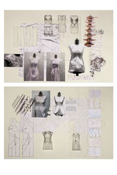 Fashion Sketchbook exploring skeletal structures -  fashion sketches, mark making, fabric manipulation, cut-out pattern samples - fashion design development; fashion designer's process // Natahsa Elliott
