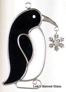 Stained-Glass-Penguin-snowflake charm-sun catcher