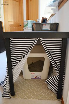 Hide your litter box in plain sight with an IKEA LACK table and a few modifications. Hiding Cat Litter Box, Hidden Litter Boxes, Diy Litter Box Cover, Ikea Lack Table, Cat Room, Cat Accessories, Cat Furniture, Decoration, Kittens