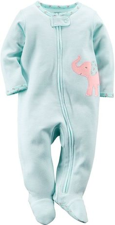 Carters Baby Girls Elephant Zip Up Sleep & Play 3 Month Light blue