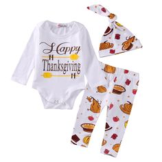 48b8dd0672d2 Pudcoco Newborn Baby Boys Girls Clothes Set Tops Romper Pants Leggings Hat  Outfits 3PCS Casual Thanksgiving