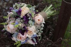 Informal Modern Romantic Rustic Shabby Chic Vintage Blue Gray Multicolor Pink Purple Bouquet Fall Rose Spring Sweet Pea Wildflower Wedding Flowers Photos & Pictures - WeddingWire.com