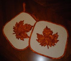 Autumn Leaves Quilted Potholder Set. $25.00, via Etsy.
