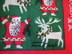Vintage Tammis Keefe Silk Christmas Scarf -  Santa and Reindeer - Merry Christmas - Collectible - Designer Scarf - Retro Graphics - Gift by shabbyshopgirls on Etsy