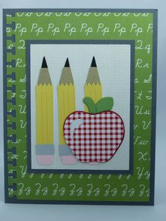 Included is one handmade teacher appreciation card featuring three pencils and an apple. Use coupon code PIN12 to save 12% now!