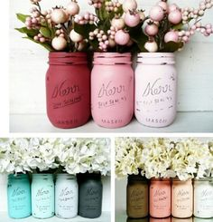 Painted mason jars in different shades, adorable for flower arrangements or table centerpieces