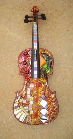 mosaic glass art | Harrach Glass: Glass mosaic violin