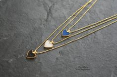 Tiny Heart Pendant Bijoux Love Necklace Gold plated Sterling Silver Jewelry Mother's Day Gift Enamel Minimal Jewelry Contemporary Modern