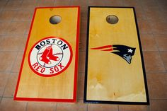 Boston Red Sox, and New England Patriots Custom Cornhole Boards.