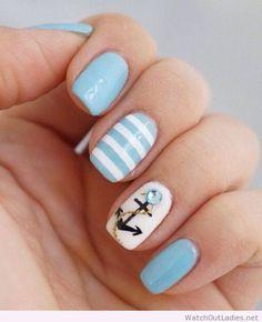 26 Cute Anchor Nail Art Designs Perfect for This Summer - Nails 💅 Anchor Nail Designs, Anchor Nail Art, Cute Nail Designs, Nautical Nail Designs, Nails With Anchor Design, Beach Nail Designs, Fancy Nails, Love Nails, Trendy Nails