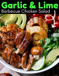 Garlic and Lime Barbecue Chicken Salad gives you sweet and savory in every single bite. Juicy chicken, pineapple, tomatoes, avocado, lime and more all come together for one delicious salad. #summer #salad #cold #green #chicken #pineapple #barbecue #garlic #lime #dinner #lunch Plats Healthy, Healthy Salads, Healthy Eating, Healthy Recipes, Dinner Healthy, Healthy Food, Breakfast Healthy, Easy Recipes, Bbq Chicken Salad