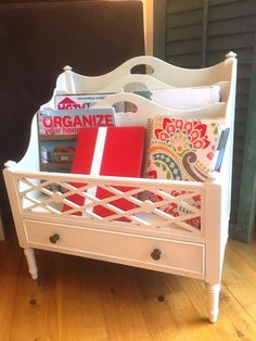 One can of spray paint gives an out dated magazine rack a gorgeous makeover showing off its stunning details. Storage can be functional and beautiful. Painted Furniture, Refinished Furniture, Old Fashioned Recipes, Mid Century House, Decorating On A Budget, Homemaking, Nifty, Repurposed, Diy And Crafts