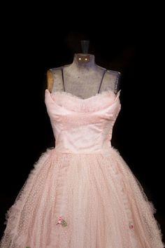 1950's Prom Dress // Pink Shelf Bust Flocked Dot Tulle Prom Dress 32 Bust XS on Etsy, $185.00