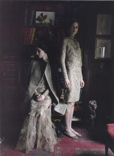 """Valentino Haute Couture Automne/Hiver shot by Deborah Turbeville featuring Allaire Heisig and Mirte Maas for Vogue Italia September 2011 Sarah Moon, Guy Bourdin, Paolo Roversi, Peter Lindbergh, Helmut Newton, Vogue, Fashion Editor, Editorial Fashion, Dark Fashion"
