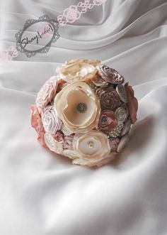 Rolled fabric flower bouquet. Ribbon roses and chiffon/organza flowers