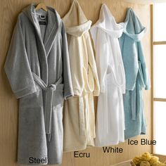 Hooded Turkish Cotton Plush Bath Robe (Ice blue for me, Gray or White for Cody)