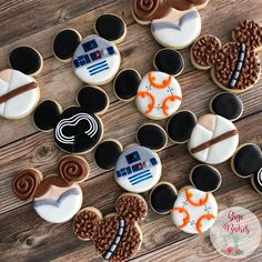 """Star Wars mickey cookies. Princess Leia BB8 R2D2 Chewbacca Kylo Ren and Luke Skywalker cookies with a Disney Mickey twist! Star Wars birthday decorated cookies 120 Likes, 8 Comments - Gigi Bakes (@gigibakescakes) on Instagram: """"Happy Star Wars Weekend!!!! #starwars #starwarscookies #starwarsday #mickeycookies #disneycookies…"""""""