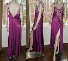 Val Mode Burgundy Long Nightgown See Through Bodice Lace L Side Slit Negligee #ValMode #Gowns