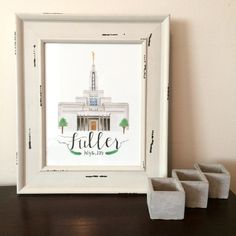 Draper Utah LDS Temple Watercolor Print || custom || personalized || anniversary || wedding || gift || wall decor || art || mormon || draw by YourFullerLife on Etsy